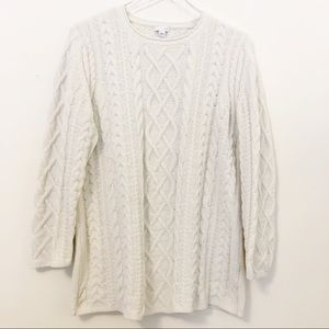 J Jill Soft, Cozy Cable Knit Tunic Sweater Large